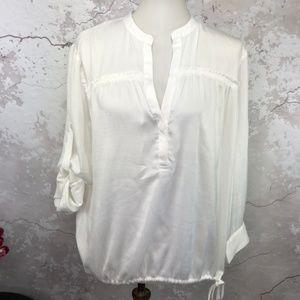 BCBGMaxazria White Roll Tab Sleeve Blouson Top L